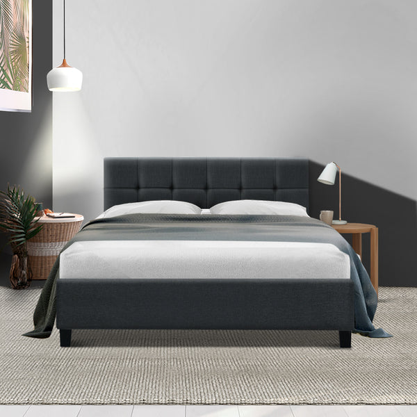 Bed Frame Double Size Base Mattress Platform Fabric Wooden Charcoal SOHO