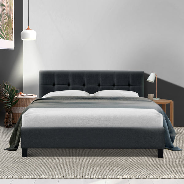 Bed Frame Queen Size Base Mattress Platform Fabric Wooden Charcoal SOHO