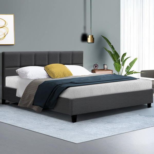 Bed Frame King Size Base Mattress Platform Fabric Wooden Charcoal TINO
