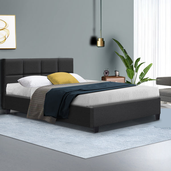 Bed Frame King Single Size Base Mattress Platform Fabric Wooden Charcoal TINO