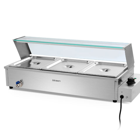 Devanti Commercial Food Warmer Bain Marie Electric Buffet Pan Stainless Steel