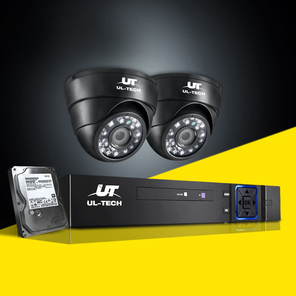 UL-Tech CCTV Security System 2TB 4CH DVR 1080P 2 Camera Sets