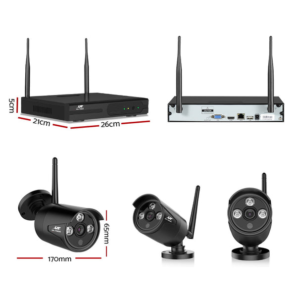UL-Tech CCTV Wireless Security System 2TB 4CH NVR 1080P 4 Camera Sets