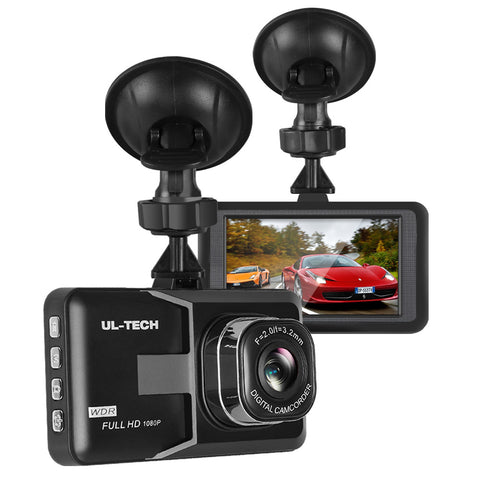 UL Tech 3 Inch Screen Dash Cam - Black