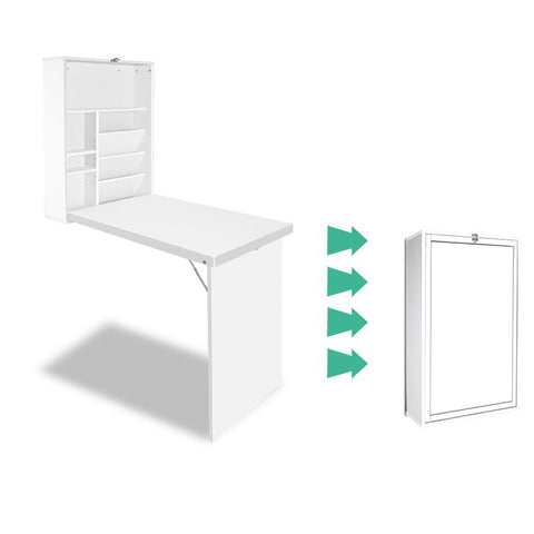 Artiss Foldable Desk with Bookshelf - White