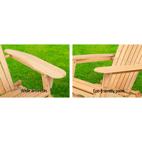 Gardeon Patio Furniture Outdoor Chairs Beach Chair Wooden Adirondack Garden Lounge 2PC