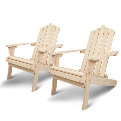 Gardeon Patio Furniture Outdoor Chairs Beach Chair Wooden Adirondack Garden Lounge Recliner 2PC Beige