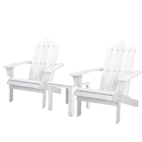 Gardeon Outdoor Sun Lounge Beach Chairs Table Setting Wooden Adirondack Patio Chair White