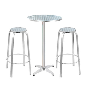 Gardeon Outdoor Bistro Set Bar Table Stools Adjustable Aluminium Cafe 3PC Round