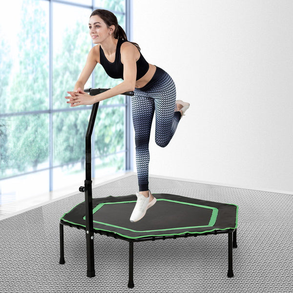 Everfit 50 Mini Trampoline Rebounder Handrail Fitness Exercise Jogger Cardio Workout""