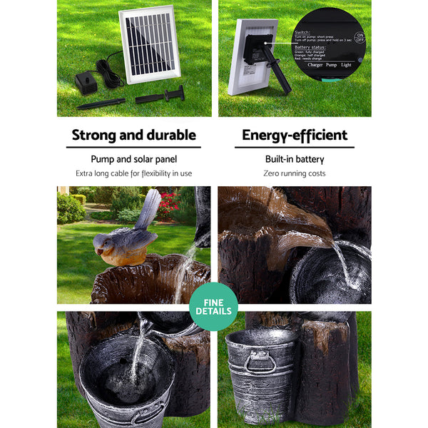 Gardeon Solar Water Fountain Feature Garden Bird Bath Outdoor Pump Panel Battery