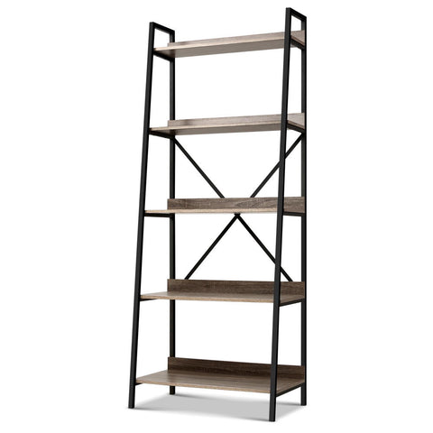 Artiss Bookshelf 5Tier Metal Bookcase Bookshelves Oak Book Shelf Display Storage
