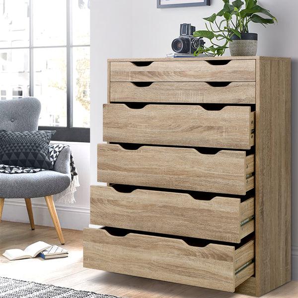 Artiss 6 Chest of Drawers Tallboy Dresser Table Storage Cabinet Oak Bedroom