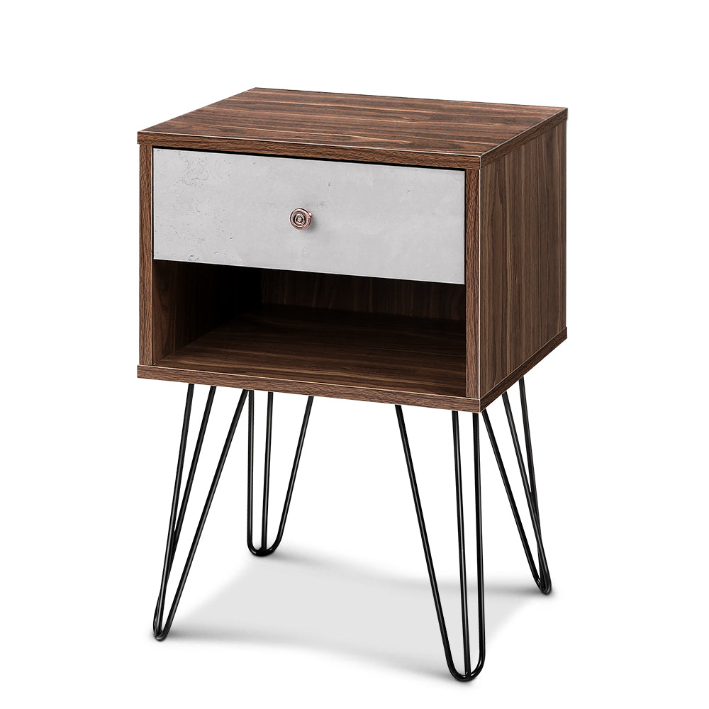 Artiss Bedside Table with Drawer - Grey & Walnut