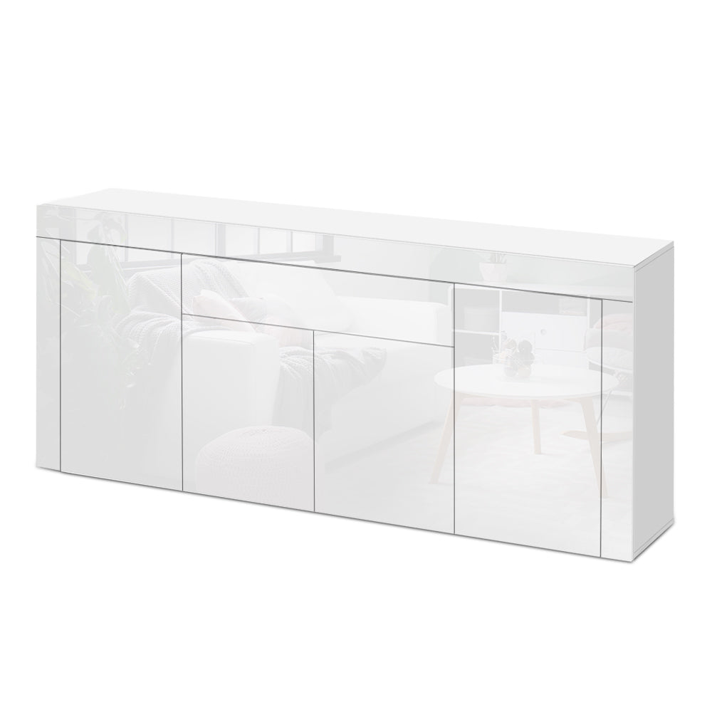 Artiss Buffet Sideboard Cabinet High Gloss Storage 4 Doors Cupboard Hall White