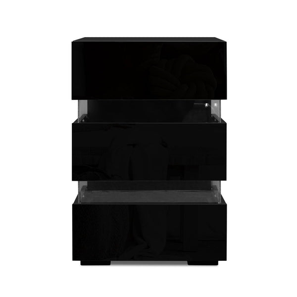 Artiss Bedside Table Side Unit RGB LED Lamp 3 Drawers Nightstand Gloss Furniture Black