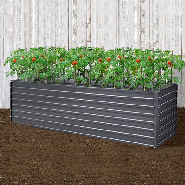 Greenfingers Garden Bed 320 x 80 x 77cm Galvanised Steel Raised Planter 2N1