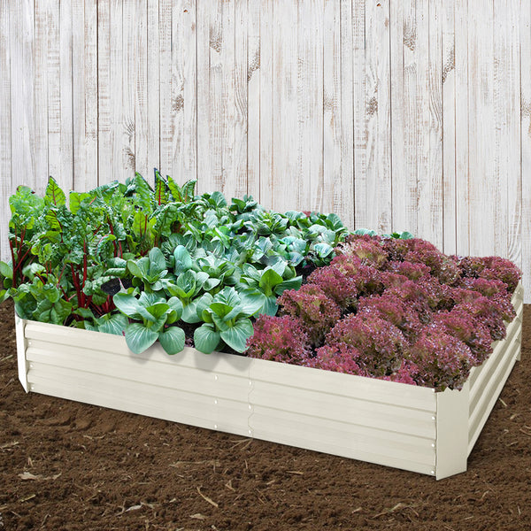Greenfingers 2x Galvanised Steel Raised Garden Bed Instant Planter Cream 150cmx90cm