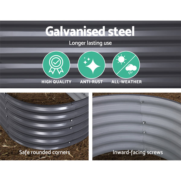 Greenfingers 160X80X42CM Galvanised Raised Garden Bed Steel Instant Planter