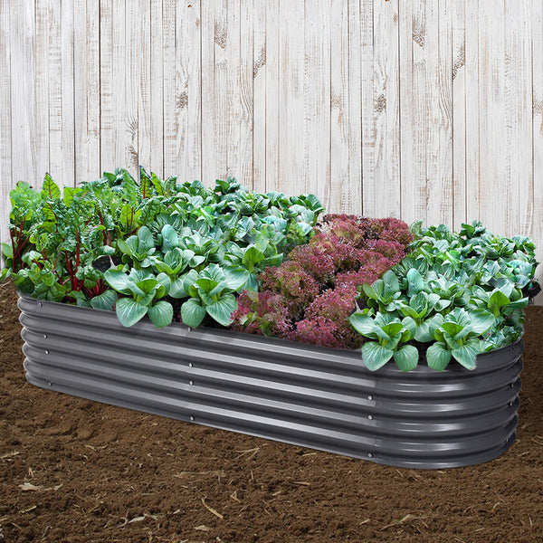 Greenfingers 240X80X42CM Galvanised Raised Garden Bed Steel Instant Planter