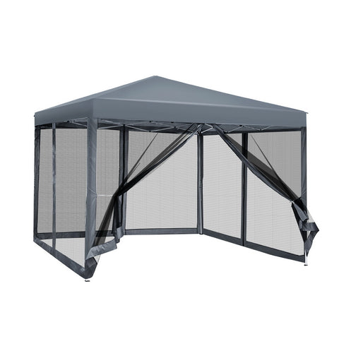 Instahut Gazebo Pop Up Marquee 3x3m Wedding Mesh Side Wall Outdoor Gazebos Grey