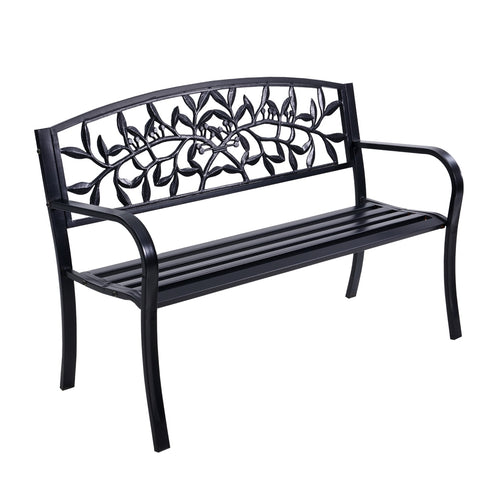 Gardeon Garden Bench Seat Chair Steel Outdoor Patio Park Lounge Furniture Black