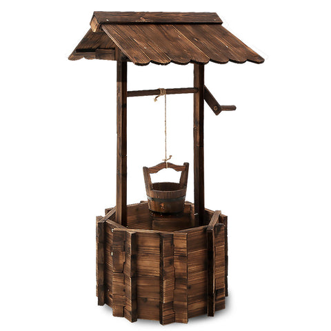 Gardeon Outdoor Garden Ornaments Wishing Well Planter Bucket Wooden Decor XL