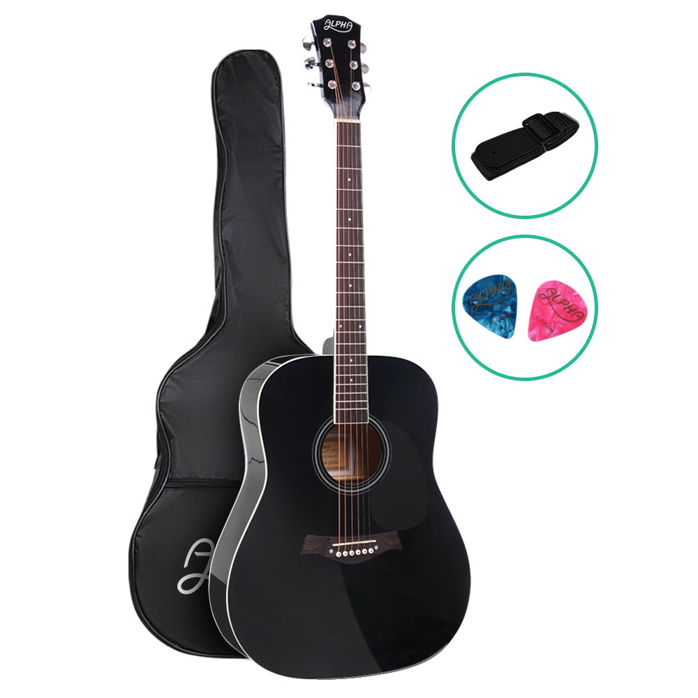 ALPHA 41 Inch Wooden Acoustic Guitar Black