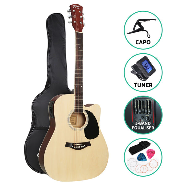 Alpha 41 Inch Electric Acoustic Guitar Wooden Classical with Pickup Capo Tuner Bass Natural""