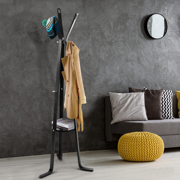Artiss Wooden Coat Hanger Stand - Black