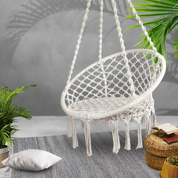 Gardeon Hammock Chair Swing Bed Relax Rope Portable Outdoor Hanging Indoor 124CM