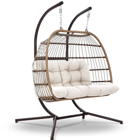 Gardeon Outdoor Furniture Hanging Swing Chair Stand Egg Hammock Rattan Wicker Latte