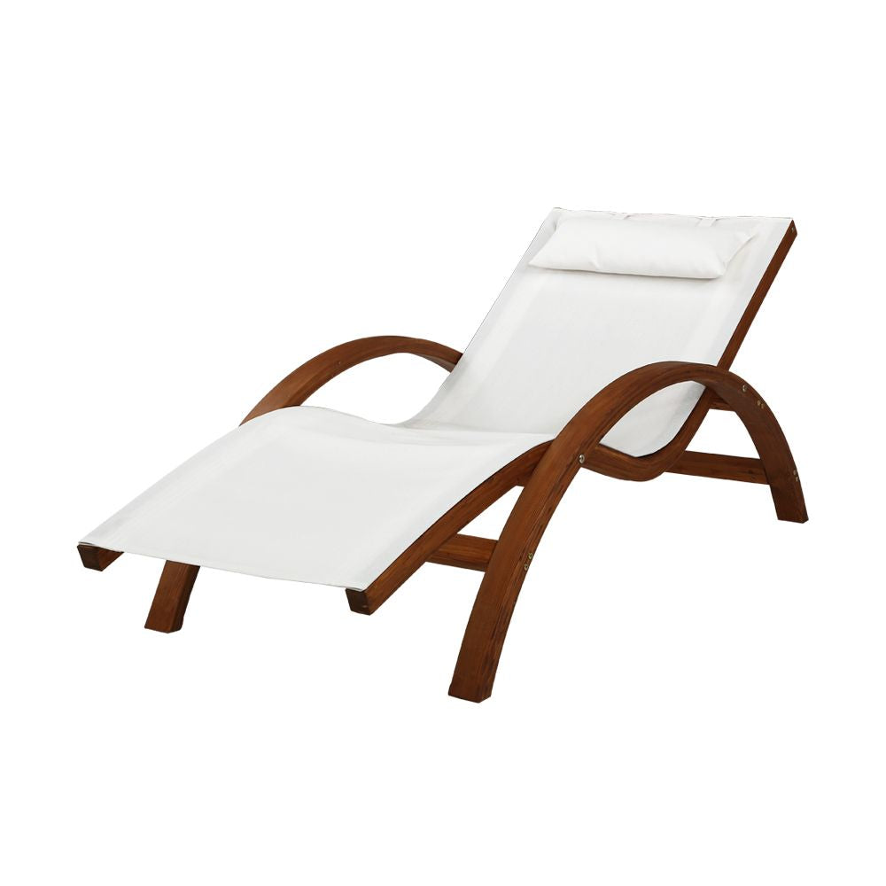 Gardeon Outdoor Wooden Sun Lounge Setting Day Bed Chair Garden Patio Furniture