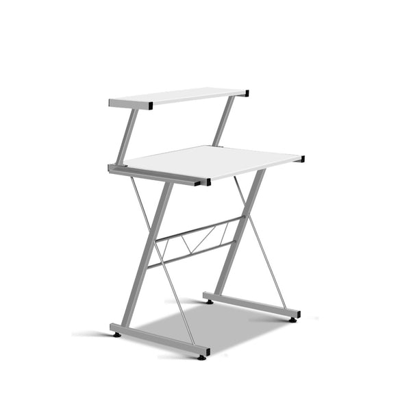 Artiss Corner Metal Pull Out Table Desk - White