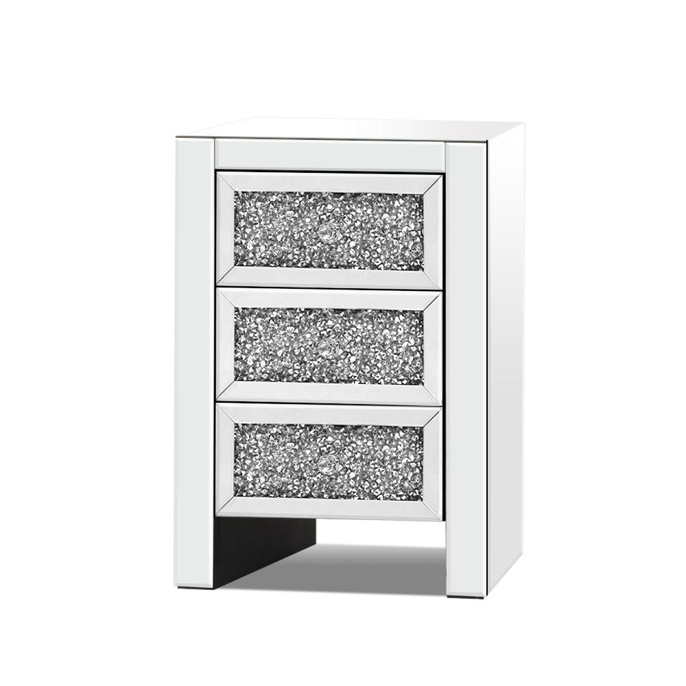 Artiss Bedside Table Nightstand Side End Tables Storage 3 Drawers Mirrored Glass Furniture