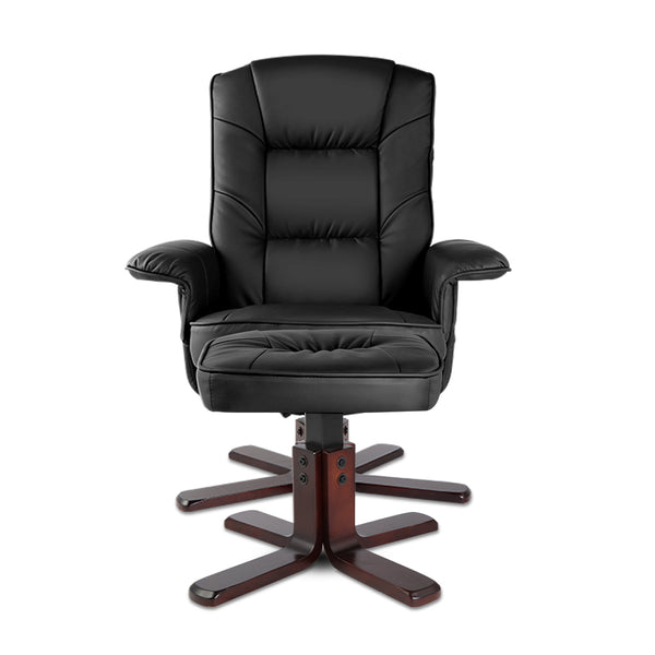 Artiss PU Leather Wood Armchair Recliner - Black