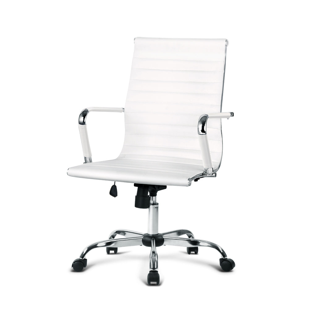 Artiss Gaming Office Chair Computer Desk Chairs Home Work Study White Mid Back