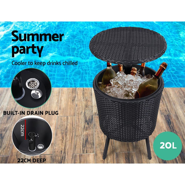 Gardeon Outdoor Furniture Wicker Chairs Bar Table Cooler Ice Bucket Patio Coffee Bistro Set