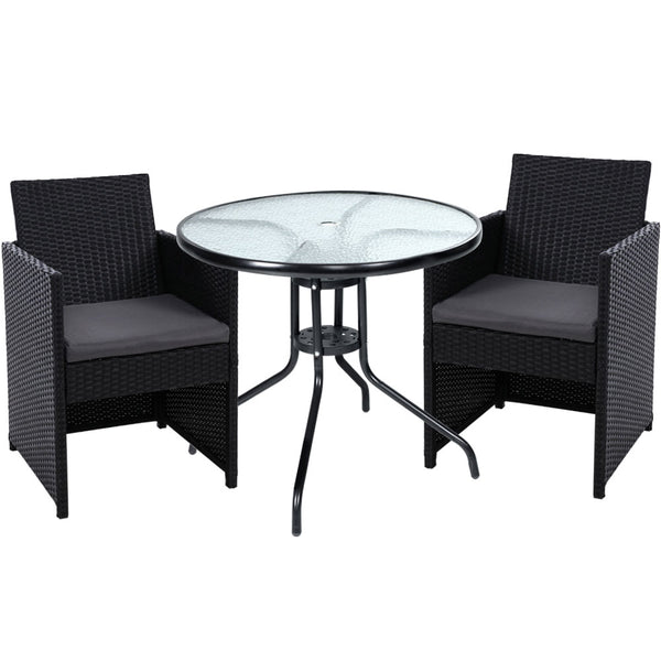 Gardeon Patio Furniture Dining Chairs Table Patio Setting Bistro Set Wicker Tea Coffee Cafe Bar Set