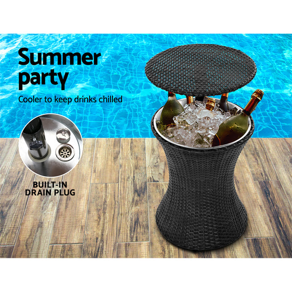 Gardeon Outdoor Furniture Bar Table Set Wicker Chairs Cooler Ice Bucket Patio Bistro Set Coffee