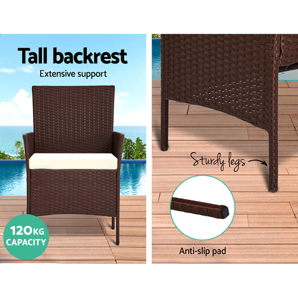 Gardeon Garden Furniture Outdoor Lounge Setting Rattan Set Patio Storage Cover Brown