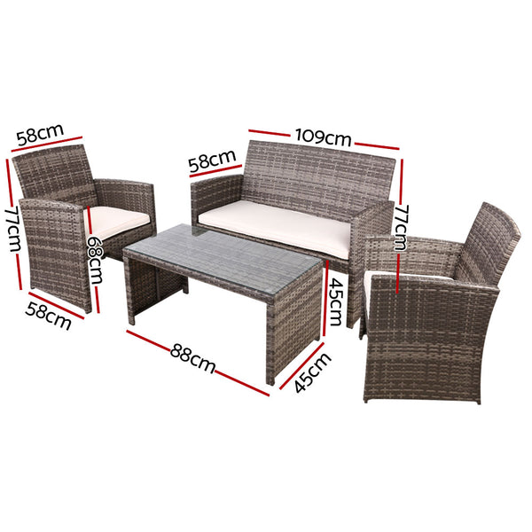 Gardeon Garden Furniture Outdoor Lounge Setting Wicker Sofa Set Storage Cover Mixed Grey