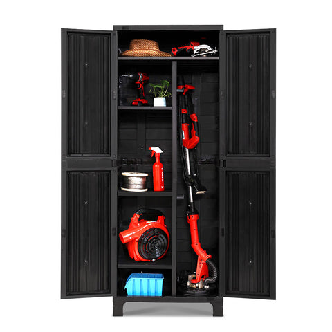Gardeon Outdoor Storage Cabinet Lockable Tall Garden Sheds Garage Adjustable Black 173CM