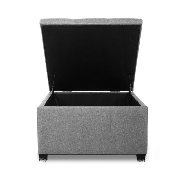 Artiss Storage Ottoman Blanket Box Linen Foot Stool Chest Couch Bench Toy Grey