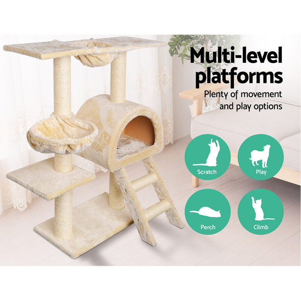 i.Pet Cat Tree 100cm Trees Scratching Post Scratcher Tower Condo House Furniture Wood Beige