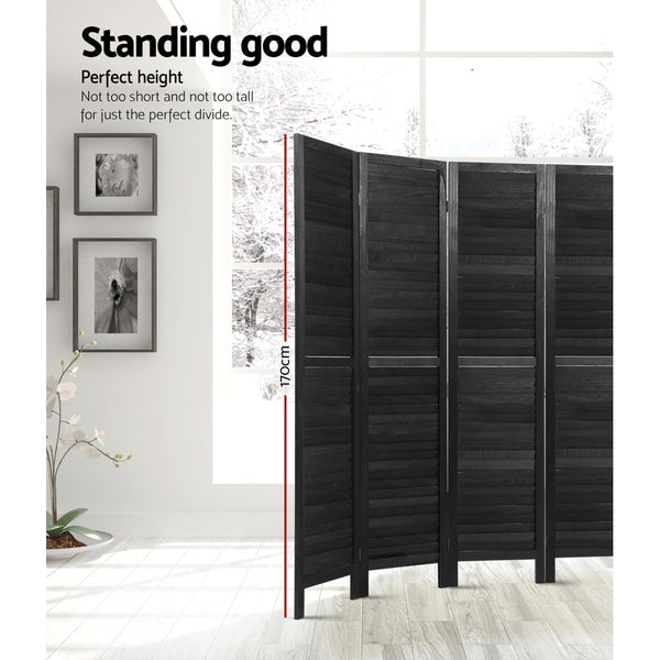 Artiss 8 Panel Room Divider Screen Privacy Wood Dividers Timber Stand Black