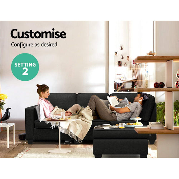 Artiss Sofa Lounge Set 4 Seater Modular Chaise Chair Couch Fabric Dark Grey