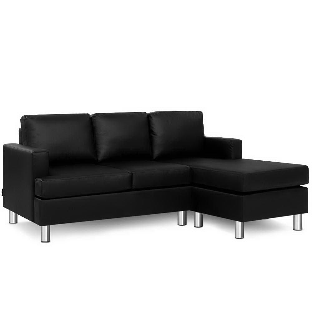 Artiss Sofa Lounge Set Couch Futon Corner Chaise Leather 3 Seater Suite Black