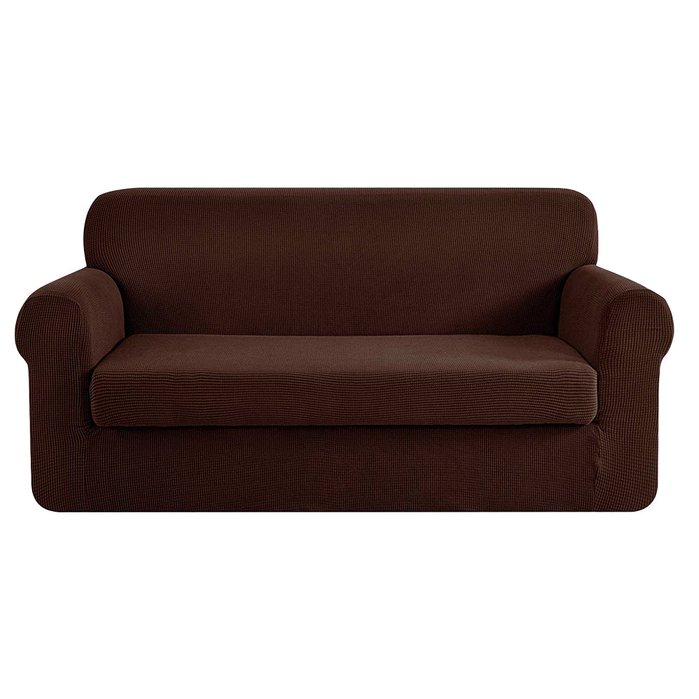 Artiss 2-piece Sofa Cover Elastic Stretch Couch Covers Protector 3 Steater Coffee