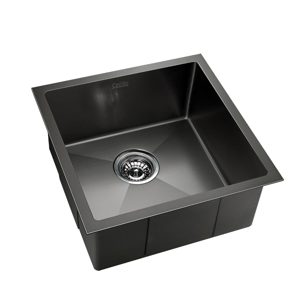 Cefito Stainless Steel Kitchen Sink 510X450MM Under/Topmount Sinks Laundry Bowl Black